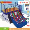Kids Rectangular Trampoline with Enclosures, Slide and Ball Pools