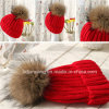 Good Quality Handmade Knitted Hat with Fur POM in Bargain