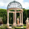 Sunset Red Marble Gazebo with Columns and Balustrade for Garden Decoration