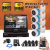 Byhann Security CCTV Home Camera System with DVR and LCD Screen