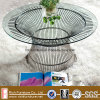 Stainless Steel Wire Round Base, Glass Top Platner Coffee Table