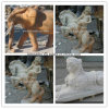 Hand Carved Garden Sculpture, Beige/White Marble Stone Animal Statue Carving for Sale