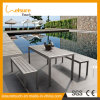 Most Popular Antique Style Cast Aluminum Table Sets with Wicker for Garden Outdoor Dining Furniture