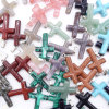 Assorted Gemstone Agate Natural Stone Round Cross Charms Suspension