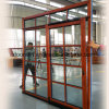 Thermal Break Aluminum Tilt and Sliding Door with Red Oak Wood Cladding Form Inside