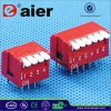 Red Color Piano Type DIP Switch with 2~12 Positions