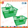 Cheap Stackable Plastic Supermarket Shopping Basket with 2 Handles (Zhb150)
