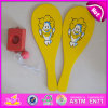 2015 New Summer Beach Wooden Racket Set, Fancy Design Wooden Beach Paddle Rackets, Wooden Beach Paddle with Plastic Tray W01A106