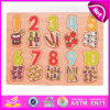 2015 Early Educational Wooden Number Puzzle Toy, Learning Number Puzzle for Children, Brain Development Wooden Puzzle Toy W14b054