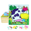 Factory Direct Hot 3D DIY Chindlren Cartoon Wooden Frame Puzzle Educational Toys Cow