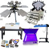 Full Sets 6 Color 6 Stations Manual Rotary T-Shirt Digital Offset Screen Printing Press Machine