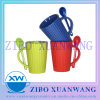 Multi Color Glazed Ceramic Spoon Mug with Embossed Lines Ceramic Coffee Cup