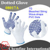 7g Bleached Polyester/Cotton Knitted Glove with Purple Wave-Shape PVC Dots