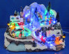 12′′ LED Village Scene with Three Movement, Moving Skating, Dancing People, Children Playing Hockey, Eight Christmas Songs