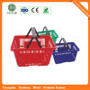 2016 Wholesale Supermarket Plastic Shopping Baskets with Wheels (JS-SBN03)