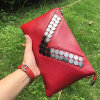Colorful Luxury Fashion Real Leather Bag Mini Envelope Clutches Handbag Emg4579