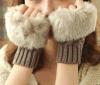 Fur Ball Gloves/Red Women Gloves