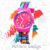Fancy Style Quartz Movement Promotional Gift Watch for Girls with Pattern Printing
