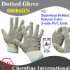 7g Natural Color Polyester/Cotton Knitted Glove with 2-Side Black PVC Dots/ En388: 112X