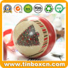 Metal Tin Ball with Ribbon for Christmas Gift Packaging Box