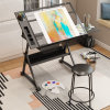 Adjustable Drafting Table Glass Top Art Drawing Craft Desk with 2 Drawers