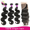 8A Body Wave Virgin Remy Brazilian Human Hair Extension with Closure