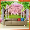 3D Window Views Cherry Blossom Oil Painting for Decorating Home