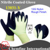 13G Green Nylon Knitted Glove with Black Nitrile Rough Coating
