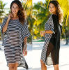 Women's Hot Sexy Chiffon Striped Cover up Beachwear Sexy Dress