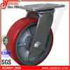 "10""X2"" Heavy Duty Red PU Swivel Caster Wheel"