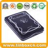 Custom Hinge Metal Box Rectangular Black Tin Case with Embossing for Pen Pencil Stationery Storage