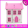 2014 New Wooden Kids Toy Dollhouse, Lovely Design Pink Kids Dollhouse Toy and Hot Selling Wooden Kids Dollhouse Set W06A077