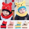 2PCS/Set New Child Winter Thicken Keep Warm Acrylic Hats & Scarf Baby Cartoon Bear Knitted Cap for Boy Girl