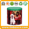 Round Christmas Tin Metal Gift Box for Promotional Holiday Gifts