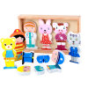 3D Wooden Novelty Cartoon Magnetic Character Kids Education Toy