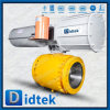 Didtek Industrial Oil Refinery Carbon Steel 2PC Trunnion Mounted Flanged Ball Valve with Pneumatic Actuator