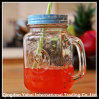 Clear Glass Mason Jar with Different Colored Lid and Straw