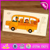 Popular and Cheap DIY School Bus Shape Wooden Puzzles for Kids W14A143