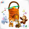 Plush Talking Jungle Animals Toy (5 PCS - Plays Sounds) with Carrier for Kids