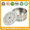 Festival Family Christmas Round Metal Tin for Biscuits Cookies
