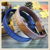 Quality Leather Imitation Weaving Brown and Blue Pet Products/Dog Collar Kc0158