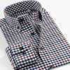 Spring Fall Mens Casual Plaid Shirts Long Sleeve Slim Fit