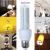 12W U PBT Flame Body Fire Electric Shock Lamp Spot Light E27 SMD2835 Corn Bulb Indoor Lighting