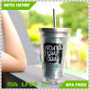 16oz Stainless Steel Double Wall Coffee Mug Tea Juice Drinkware with Straw