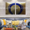Gorgeous Golden Foil Background with Blue Circle Abstract Painting