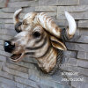 Polyresin Lifelike Wall Mounted Animal Head, Resin Cow Skull Head Statue
