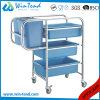 Round Tube Cleaning Clearing 90degree Legs Garbage Cart with Bin and Basket