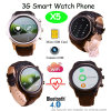 3G Full Round Screen 3G Smart Watch Phone Support WCDMA WiFi Wireless Internet (X5)