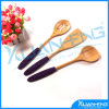 Bamboo Kitchen Tools with Color Handles, Set of 3