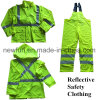 100% Polyester En 471 High Visibility Reflective Raincoat Suit